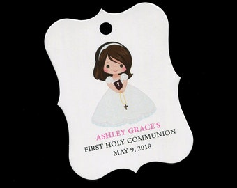 Personalized Communion Favor Tags - First Communion Tags - First Holy Communion Favor Tags - Girls Communion Tags - Pink - Brunette