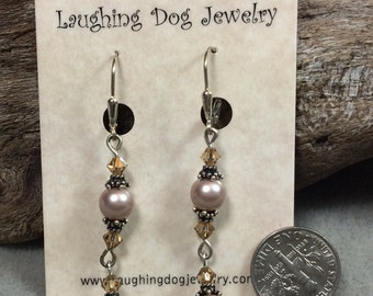 Swarovski Pearls, Crystals and Sterling Silver Earrings