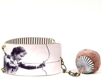 Shrink plastic valentine bracelet bangle, Lover Bangle, Black and White Bracelet, vintage image bracelet, cupid bracelet, striped bracelet