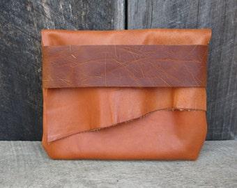 Burnt Orange Light Traveler Eco Leather Clutch