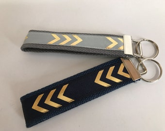 Gold Arrow on Grey & Navy Key Fob, Set of 2 FREE SHIPPING // Graduation Gift // Appreciation Gift // Thinking of you // Holiday Gift
