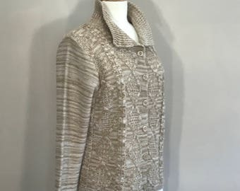 Vintage Christopher & Banks Tan Cardigan Sweater,  Natural Taupe and Off White Cardigan,