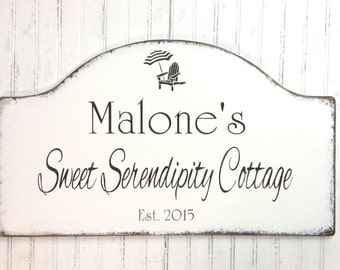 Personalized vacation house sign, home decor, custom cottage sign, beach cottage sign, lake cottage decor