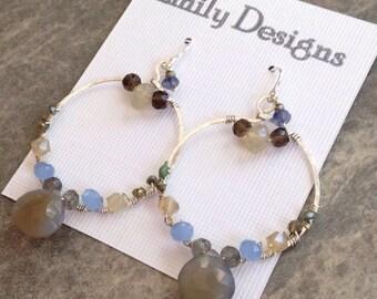 Bluegrey chalcedony wire wrapped hoop earrings ss