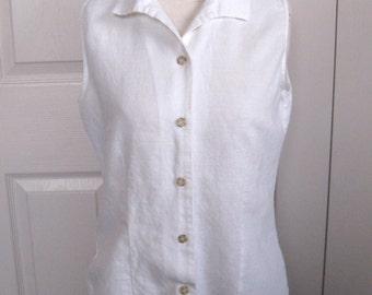 white linen blouse . classic white linen blouse. sleeveless linen blouse . white linen