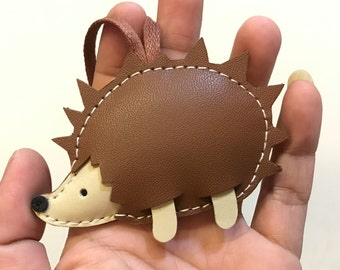 Small size - Spike the Hedgehog cowhide leather charm (  Brown )