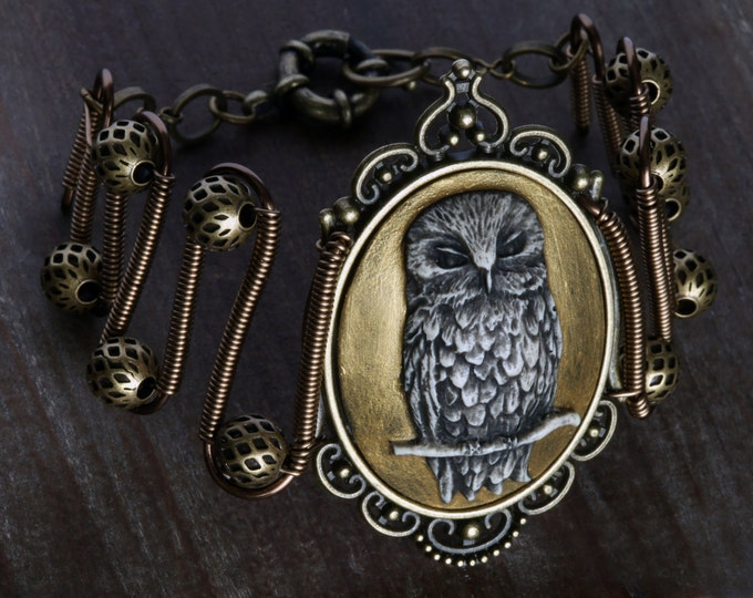 Owl bracelet, Golden Owl Cameo, Neo Victorian Steampunk style jewelry
