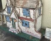 Antique Bird House Outdoor Wooden Miniature Cottage Yard Art Tudor Home