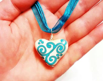 Heart Necklace, Lampworked Glass Ivory and Blue Vines