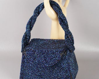 Vintage 1950s Handbag Blue Beaded Box Purse Handmade by Furman