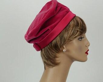 Vintage 1960s Hat Hot Pink Velvet and Satin by Jan Leslie