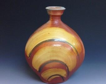 Oval Vase. Flask Shape. Soda Fired Stoneware Pottery