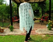 Lace Wrap, Ruana, Shawl, Caftan, Shrug, Kimono or Beach Coverup in Pale Mint Green with Scalloped Hemline--One Size Fits Many