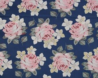 4103 - Cath Kidston Richmond Rose (Dark Blue) Cotton Fabric - 53 Inch (Width) x 1/2 Yard (Length)