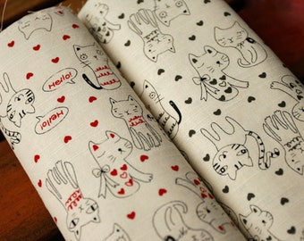 4562 - Cat Heart Slubbed Cotton Fabric - 59 Inch (Width) x 1/2 Yard (Length)
