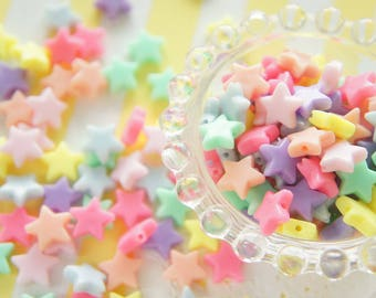 35 pcs Pastel Star Beads (13mm) AZ151 (((LAST/ no restock)))