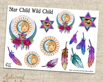 Star Child Wild Child - Boho Pagan Witchy Planner Stickers
