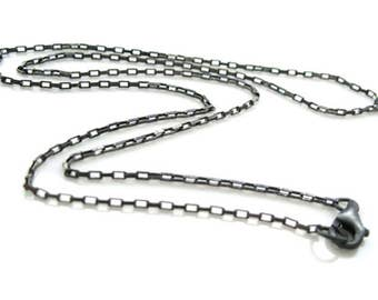 Oxidized Sterling Silver Chain - small rectangle chain - Finished For Pendant  (20 inches) SKU: 601011-OX