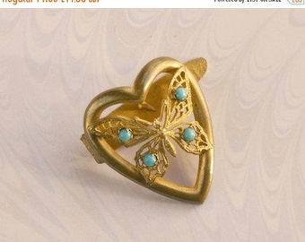 NOW  ON SALE Heart & Filigree Butterfly Dress Clip,Turquoise Glass Stones, Gift For Her,Edwardian 1910's.