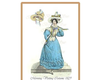 NOW  ON SALE Regency Fashion Plate /Engraving Digital Download, Late Regency Day Dress 1829,Fashion Costume History, Millinery Reference,Pri