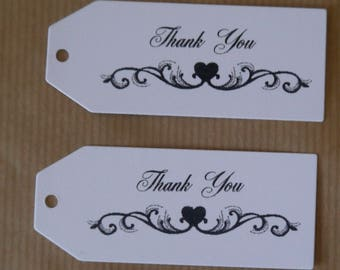 "24 x thank you heart scroll flourish tags 2.3/4"". x1.1/4"" white or cream,swing tags, hang tags,gifts,wedding,favors,party"