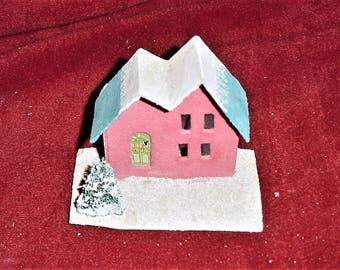 Vintage Red Putz House Mica Japan Christmas As Is