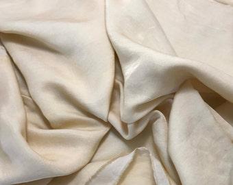 Hand Dyed ECRU Silk and Cotton Blend Sateen Fabric - 1 Yard