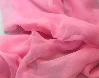 Silk Gauze Chiffon - Hand Dyed Baby Pink - 1/2 Yard