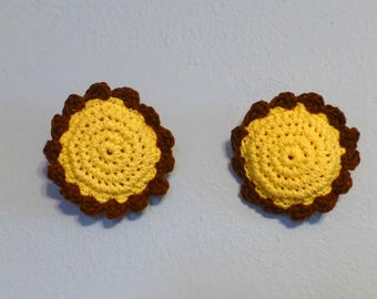 Scrub Pads Set Of Two Crochet Cotton on Thick Nylon Flower Scrubbie Sunflower Yellow and Brown