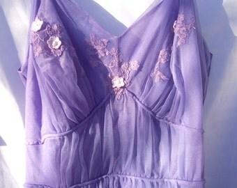 Vintage Mid Century Nylon Nightgown Artemis 32 RADIANT ORCHID