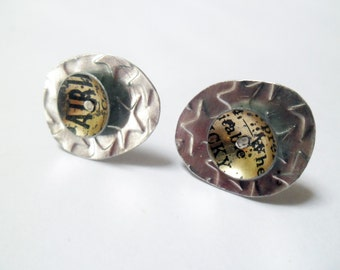 Dishy Distressed Golden and Text earring studs.