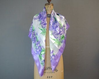 Vintage Purple Floral Scarf Large 38 inches, Sheer and Satin Stripes
