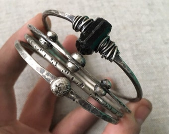 Sterling Silver Bangle Bracelets Chunky Bracelets Bangle Bracelet Set Rustic Jewelry DanielleRoseBean Silver Bracelets