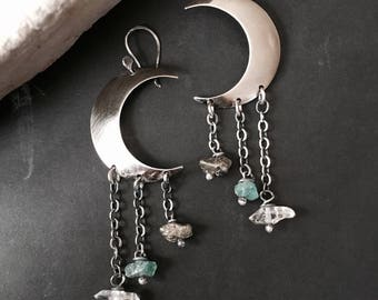 Moon Earrings / Silver Earrings / Healing Crystal / Dangle Earrings / Crescent Moon / Daniellerosebean / Boho  / Raw Crystal