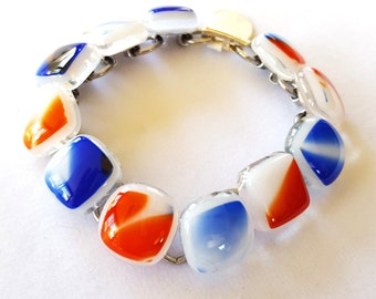 Link Bracelet, Red White and Blue, Fused Glass Jewelry, Patriotic Jewelry, 4th of July, Election Day Party, Handmade in USA