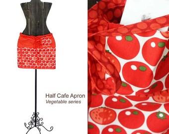 Half Cafe Apron - Tomato