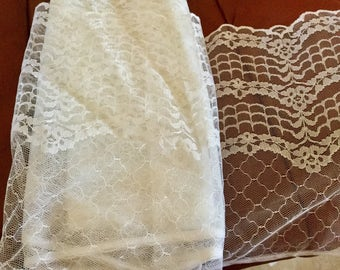 White Wide Lace, 7 yards 9 inches wide, flat.