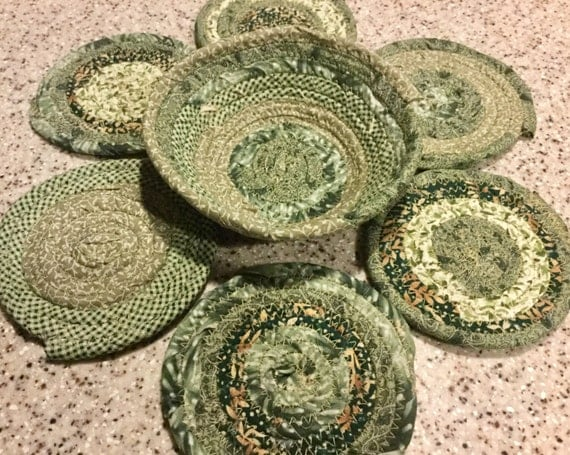 Coiled Fabric Coasters and Bowl Set Trivet Mug Rug Green