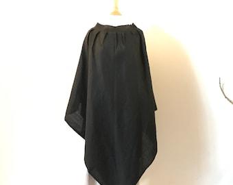 Black linen poncho free size ready to wear