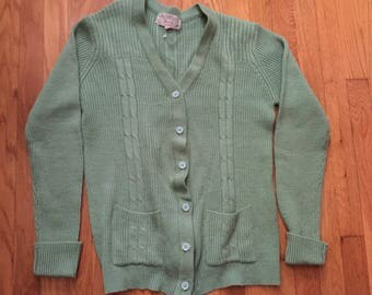 Vintage Mint green size s/m arcylic cardigan as is
