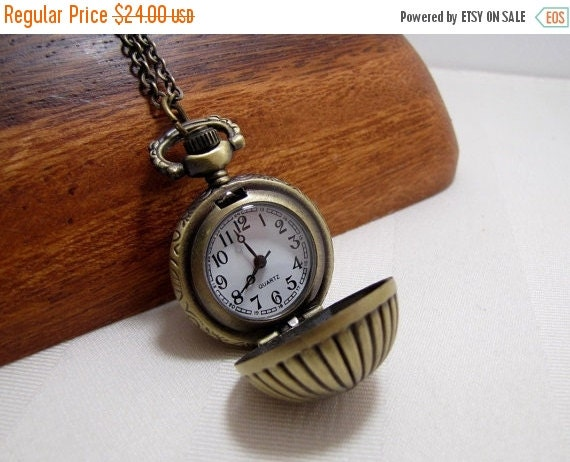 SALE Pocket Watch Necklace Round Ball Pocketwatch Jewelry