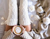 Wine Socks  If you can read this bring me a glass of wine Ivory white Cable knit knee high stocking socks
