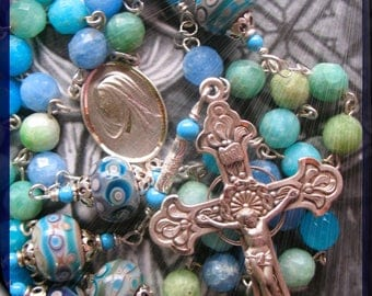 Handmade Rosary Blue Green Faceted Onyx Gemstone Beads and French Lampwork Beads 925 Sterling Silver