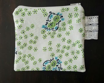 Small Zipper Pouch Denyse Schmidt Fabrics Lace Trim