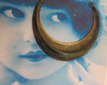Hand Oxidized Patina Brass Crescent Connectors 529HOX  x2