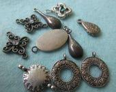 10 assorted charms, charms, metal charms, silver metal charms,