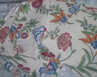 Jacobean Floral Fabric Squares ~ Vintage Floral Chintz ~ Polished Cotton Fabric Squares, Quilt Blocks
