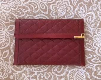 Vintage Etienne Aigner Quilted Oxblood Leather Clutch
