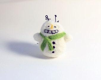 Felt Christmas ornament - needle felted snowman - crazy hair and creepy smile