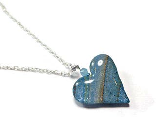 Heart Reversible Pendant- Rustic Heart Necklace- polymer clay Jewelry- Ready to Ship- Turquoise Necklace